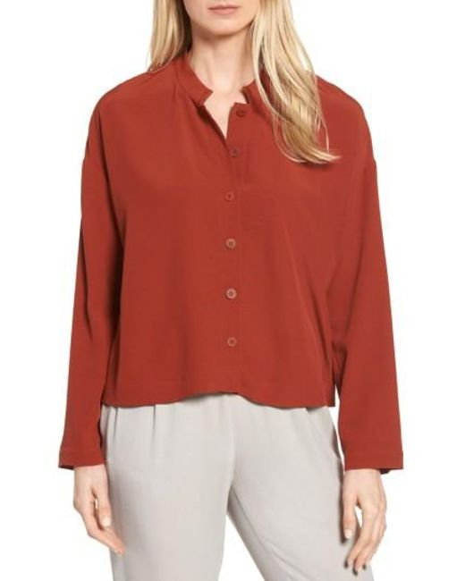Eileen Fisher | Red Mandarin Collar Boxy Top | Lyst