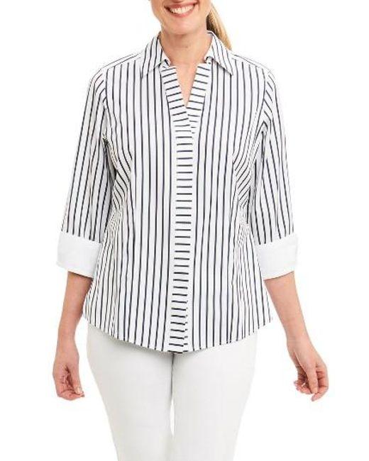 Foxcroft | Blue Taylor Non-iron Stripe Cotton Shirt | Lyst