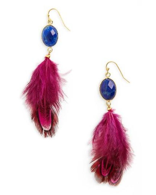 Panacea | Multicolor Feather Shoulder Duster Earrings | Lyst