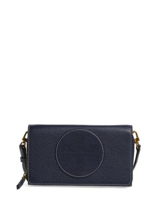 Tory Burch | Blue Perforated Leather Wallet Crossbody Bag | Lyst