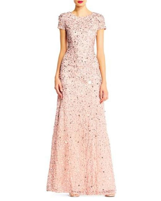 Adrianna Papell | Pink Short Sleeve Sequin Mesh Gown | Lyst