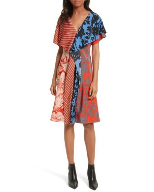 Diane von Furstenberg | Red Mix Print Silk Ruffle Dress | Lyst