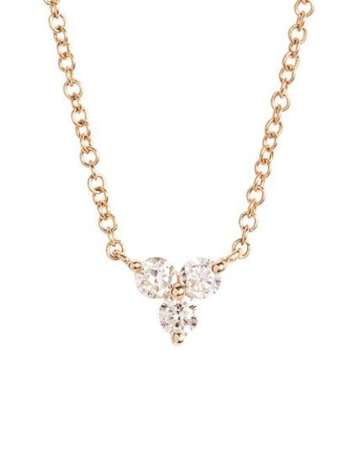 EF Collection   Metallic Trio Diamond Pendant Necklace   Lyst