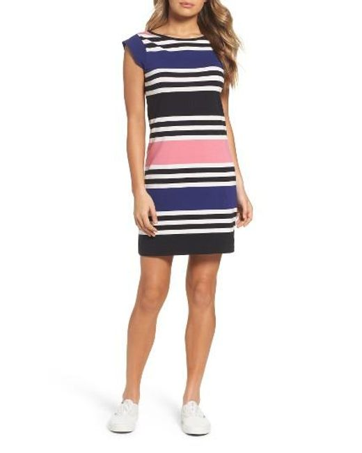 French Connection Multi Jag Stripe T Shirt Dress In Blue