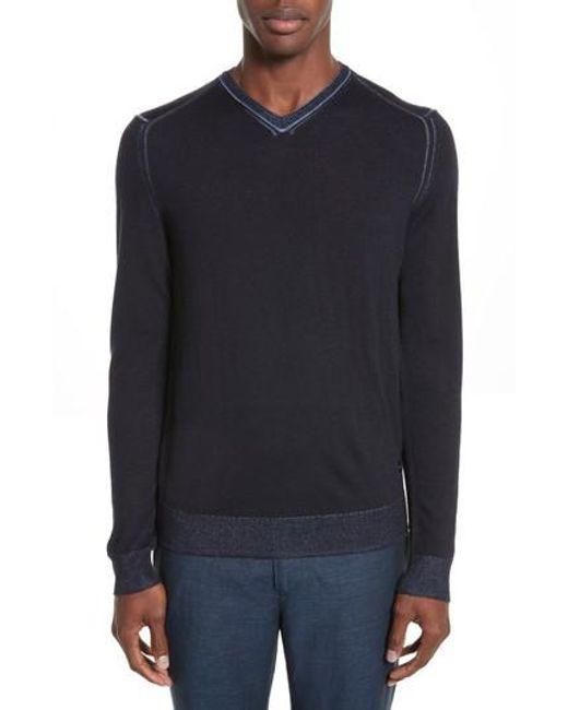 Emporio Armani | Blue Aj V-neck Sweater for Men | Lyst