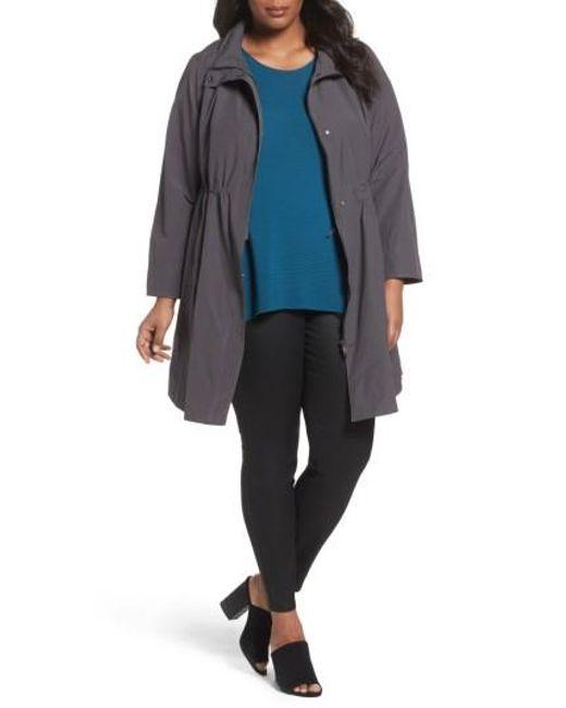 Eileen Fisher   Blue Long Organic Cotton Blend Jacket   Lyst