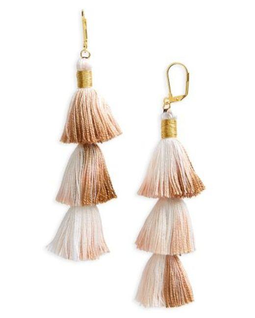 Shashi | Metallic Tassel Drop Earrings | Lyst