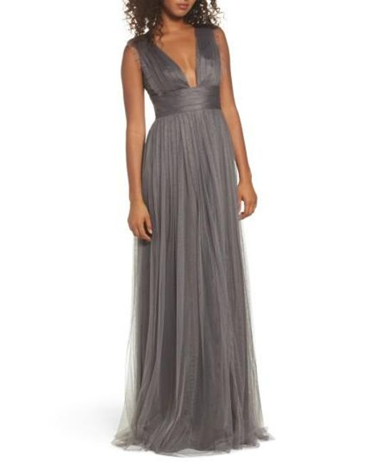 Monique Lhuillier Bridesmaids | Gray Isla Ruffle Pleated Tulle Gown | Lyst