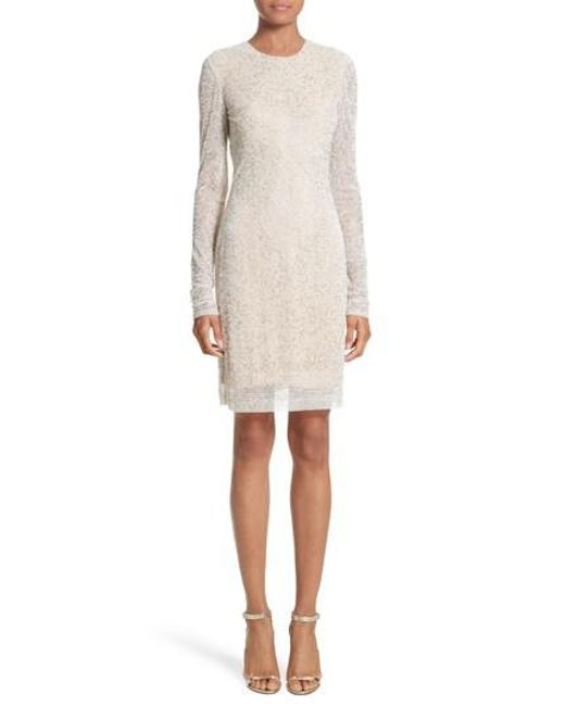 Naeem Khan | White Caviar Beaded Long Sleeve Sheath Dress | Lyst