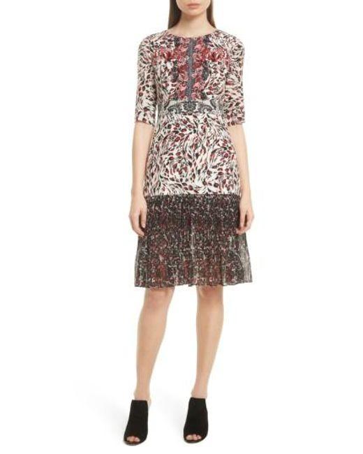 Saloni | Multicolor Vera Print Silk Dress | Lyst