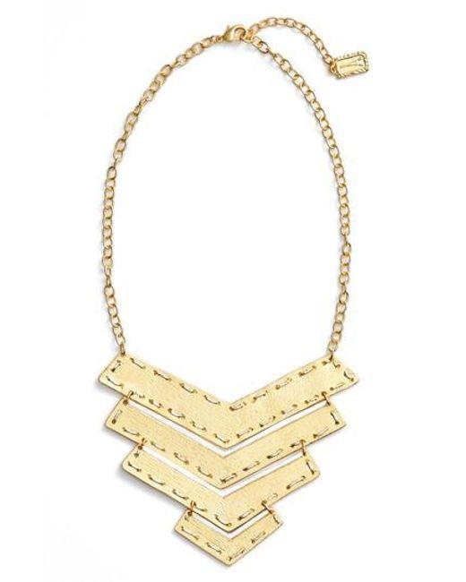Karine Sultan | Metallic Chevron Pendant Necklace | Lyst