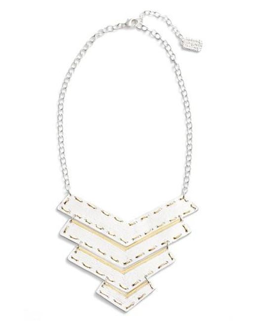 Karine Sultan | Metallic Chevron Pendant Necklace | Lyst
