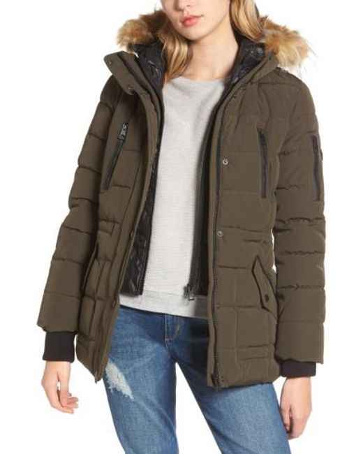 Guess   Green Vestee Anorak With Faux Fur Trim   Lyst