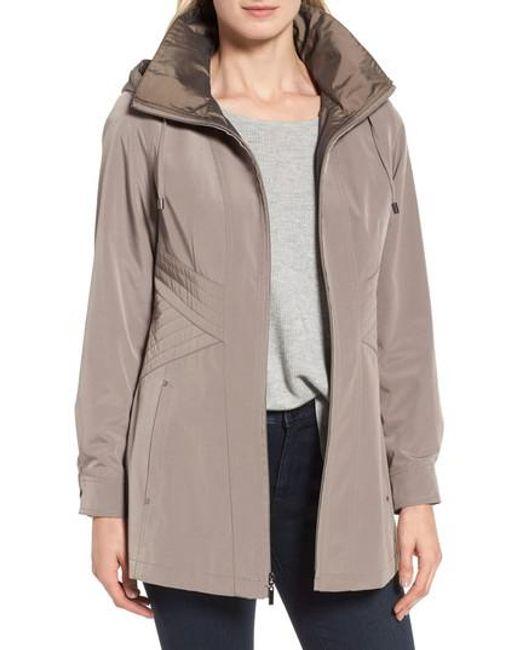 Gallery | Natural Two-tone Long Silk Look Raincoat | Lyst