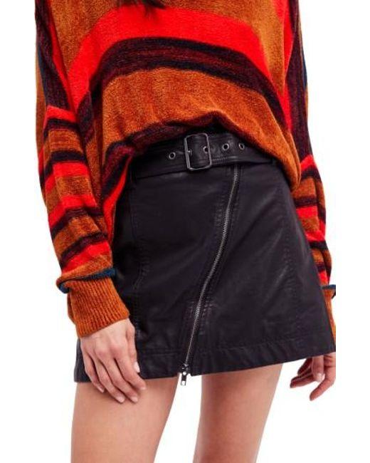 Free People | Black Feelin' Fresh Faux Leather Moto Skirt | Lyst