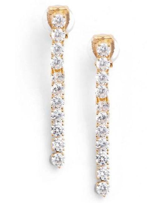 Nadri   Metallic Cubic Zirconia Linear Drop Earrings   Lyst