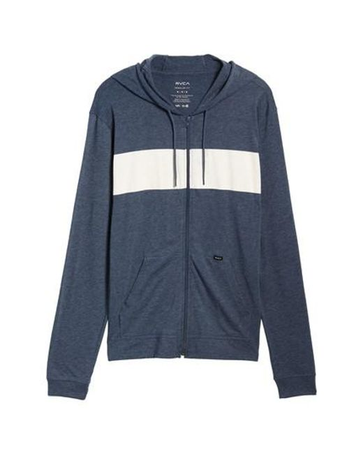 RVCA | Blue Line Up Colorblocked Zip Hoodie for Men | Lyst