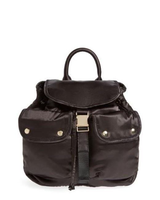 Steve Madden | Black Small Satin Backpack | Lyst