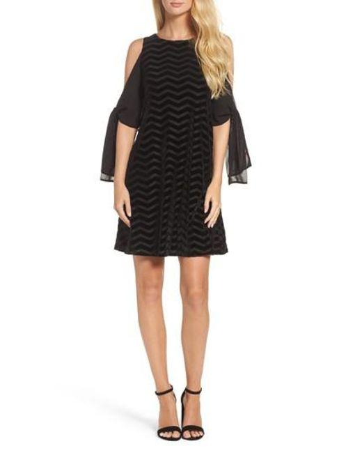 Taylor Dresses   Black Chiffon Sleeve Velvet Burnout Shift Dress   Lyst
