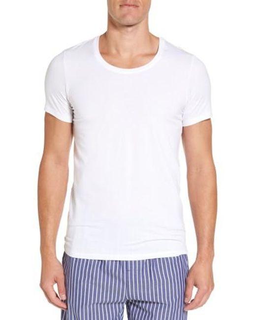 Hanro | White Stretch Cotton Crewneck T-shirt for Men | Lyst