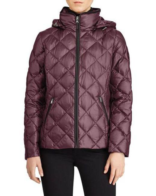 Lauren by Ralph Lauren | Purple Quilted Down Jacket | Lyst