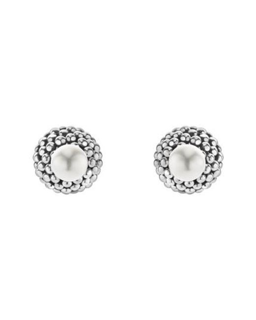 Lagos | Metallic Caviar & Pearl Stud Earrings | Lyst