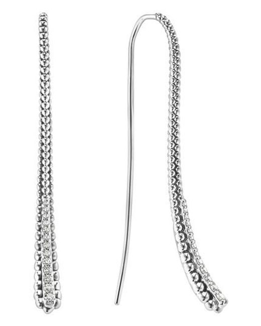 Lagos | Metallic Sterling Silver Signature Caviar Diamond Threader Earrings | Lyst
