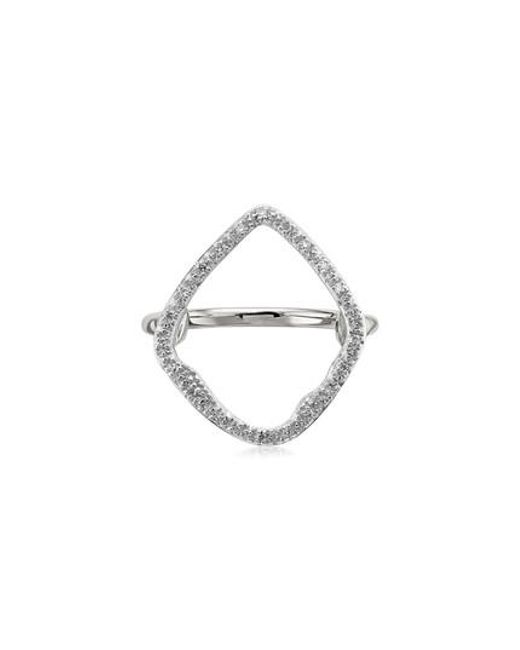 Monica Vinader | Metallic Riva Hoop Diamond Ring | Lyst