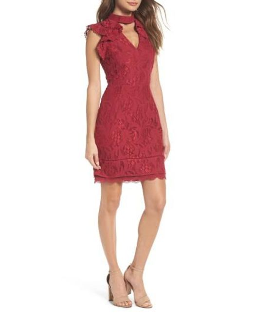 Adelyn Rae   Red Delilah Lace Sheath Dress   Lyst