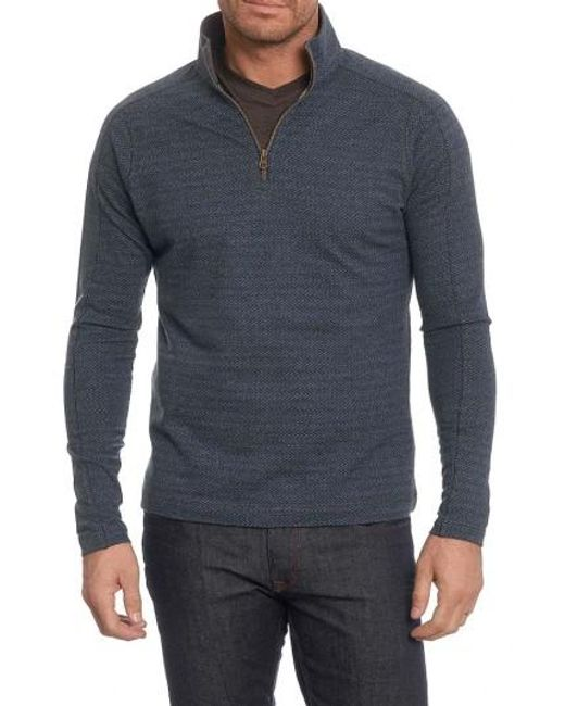 Robert Graham | Blue Warrensburg Herringbone Quarter Zip Pullover for Men | Lyst