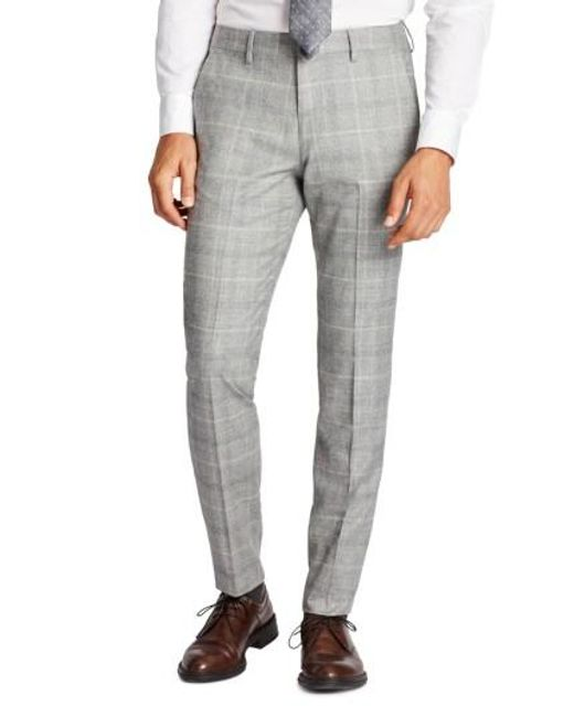 Bonobos | Gray Jetsetter Flat Front Plaid Stretch Wool Trousers for Men | Lyst