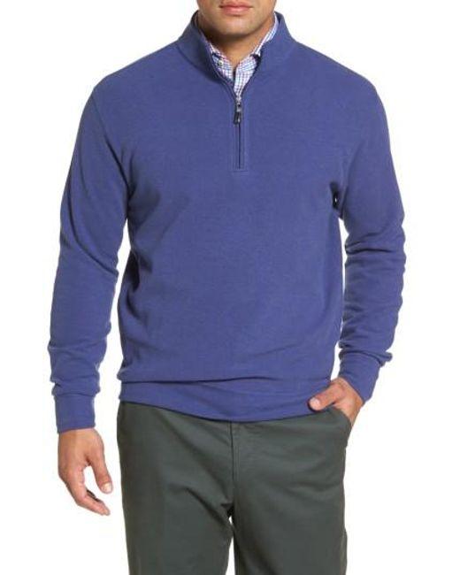 Peter Millar | Blue Melange Quarter Zip Pullover for Men | Lyst