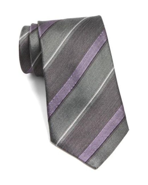 John Varvatos | Gray John Varvatos Star Usa Stripe Silk Tie for Men | Lyst
