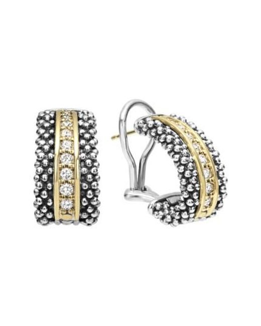 Lagos | Metallic 'caviar' Diamond Hoop Earrings | Lyst