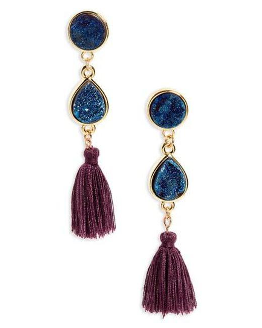 Panacea   Blue Drusy Quartz Tassel Earrings   Lyst