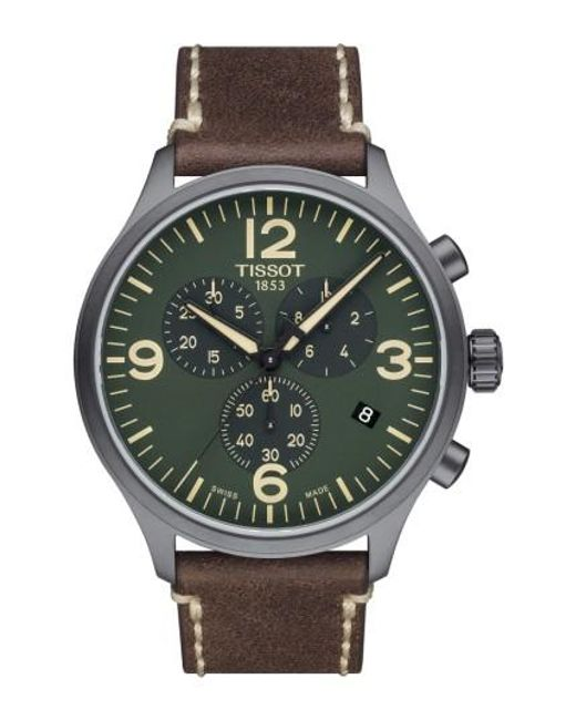 Tissot | Green Chrono Xl Leather Strap Chronograph Watch for Men | Lyst