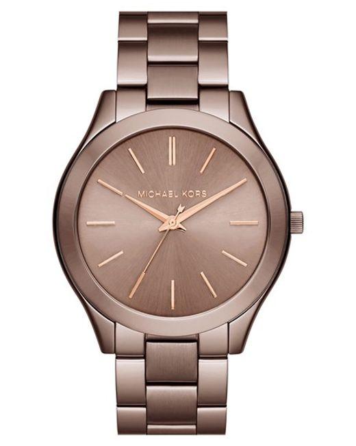 MICHAEL Michael Kors | Brown Michael Kors 'slim Runway' Bracelet Watch for Men | Lyst