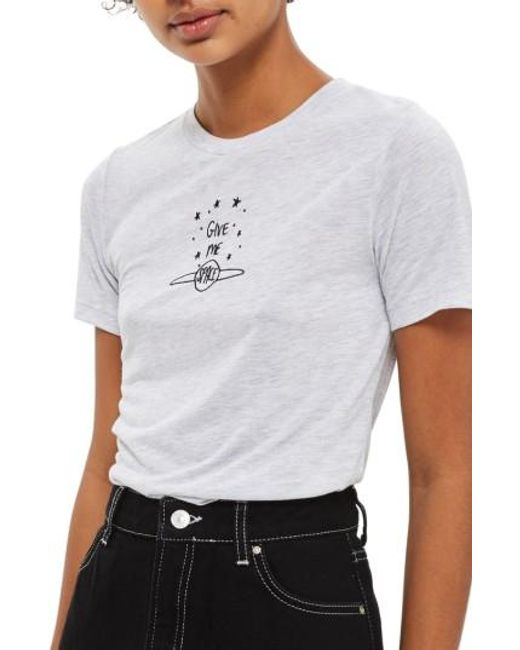 TOPSHOP   Gray Give Me Space Tee   Lyst