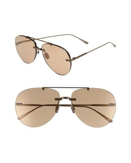 Bottega Veneta - Natural 63mm Aviator Sunglasses - Brass/ Beige - Lyst