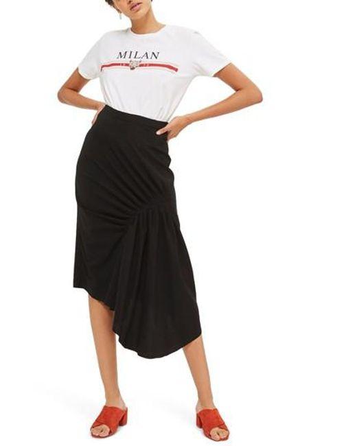 TOPSHOP | Black Ruched Drape Midi Skirt | Lyst