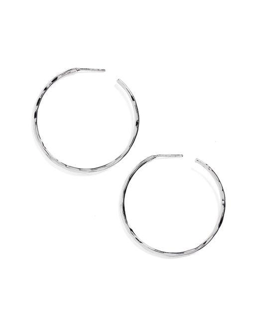 Argento Vivo - Metallic Medium Hammered Hoop Earrings - Lyst
