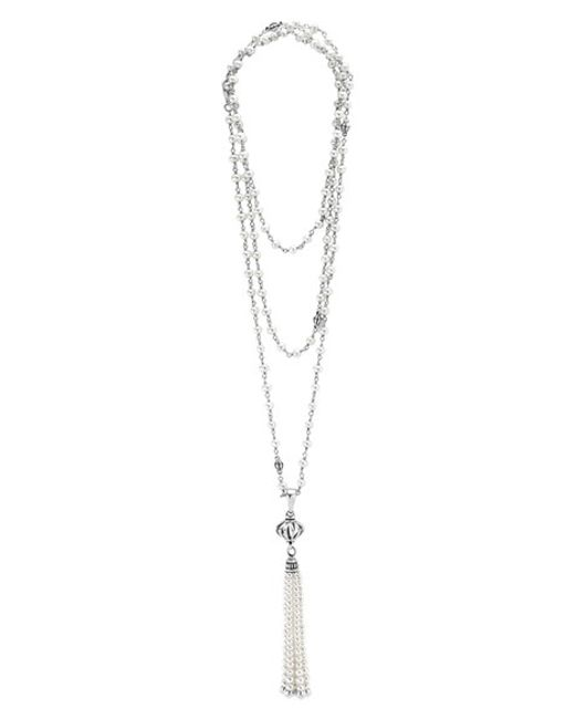 Lagos | Metallic 'luna' Pearl Tassel Necklace | Lyst
