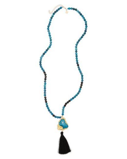 Panacea | Blue Tassel Pendant Necklace | Lyst