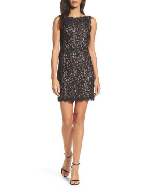 Adrianna Papell | Black Boatneck Lace Sheath Dress | Lyst
