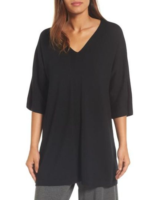 Eileen Fisher | Black Merino Wool Tunic Sweater | Lyst