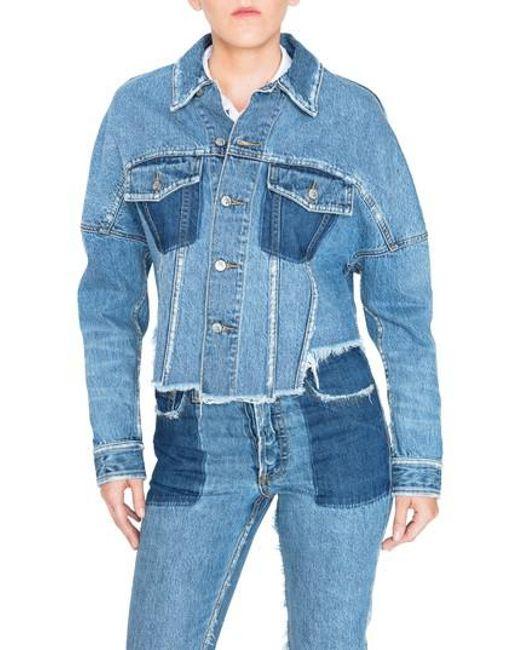 PRPS - Blue Crop Denim Jacket - Lyst