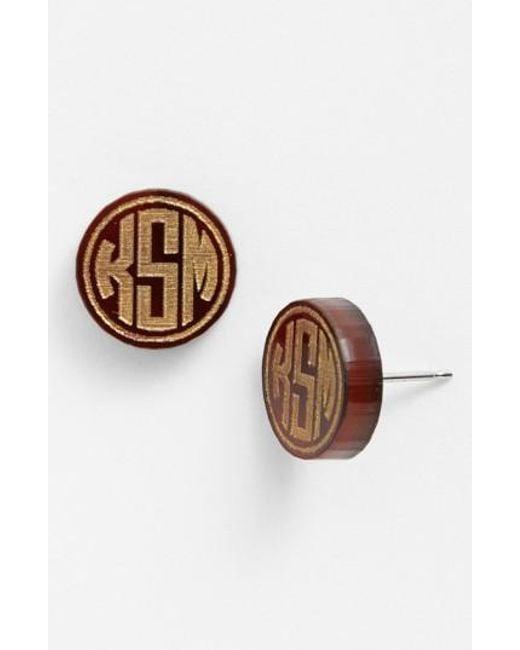 Moon & Lola | Brown 'chelsea' Small Personalized Monogram Stud Earrings | Lyst