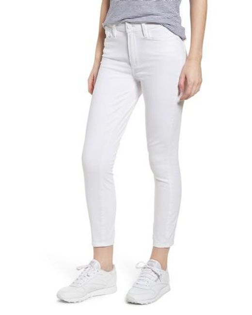 PAIGE - White Hoxton High Waist Crop Skinny Jeans - Lyst