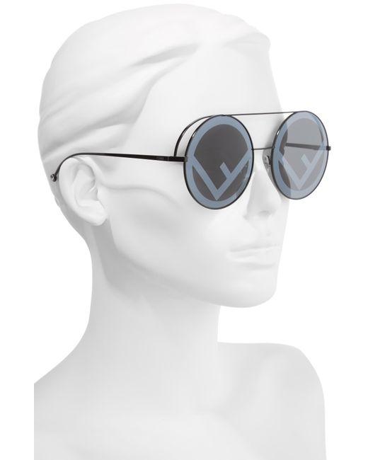 eee9035be237f ... Fendi - Black Run Away 63mm Round Sunglasses - Lyst