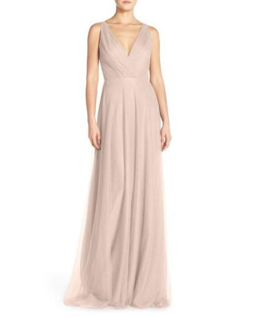 Monique Lhuillier Bridesmaids | Pink Back Cutout Pleat Tulle Gown | Lyst